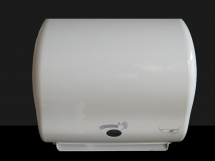 Dispenser for hand towel rolls with a sensor, automatic towel withdrawal